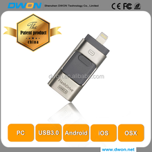 wholesale promotional gift fashion patent design 3 in 1 OTG Usb 32 gb pendrive 64gb U disk for iphone
