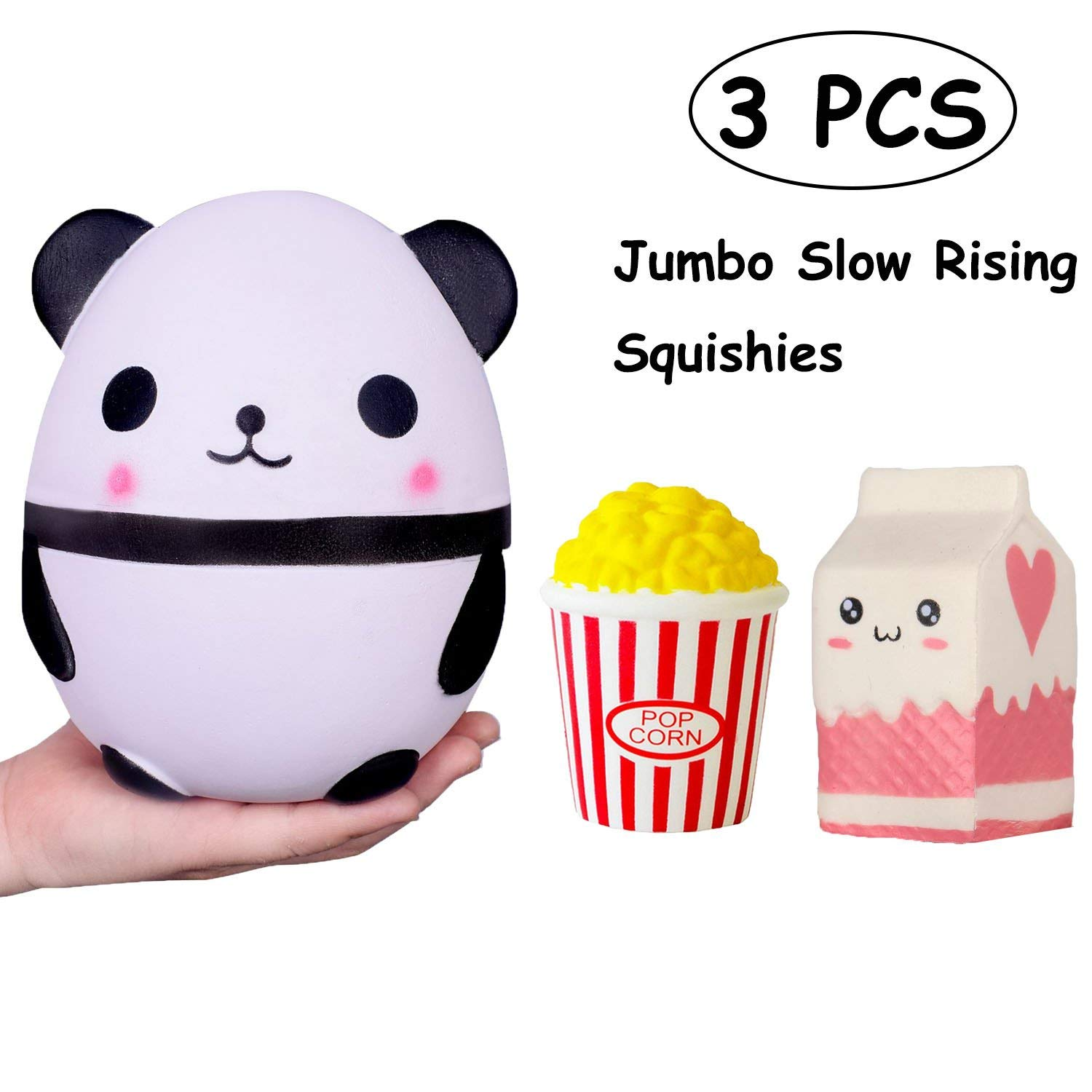 TOYHUYI Pack of 3 Jumbo Slow Rising Squishies Kawaii Popcorn Milk Box Panda figure Charms Scented Squeeze Toy, Stress Relief Toy For Fun