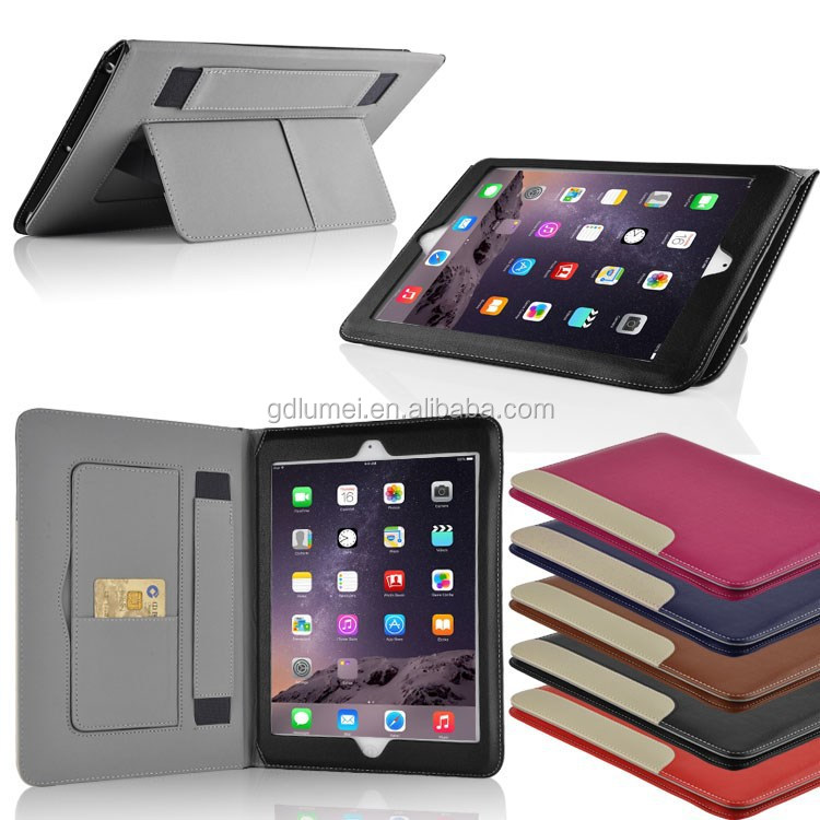 Slim Stand Movie Watching PU Flip Leather Case For iPad Air 2 With Hand Holder Belt