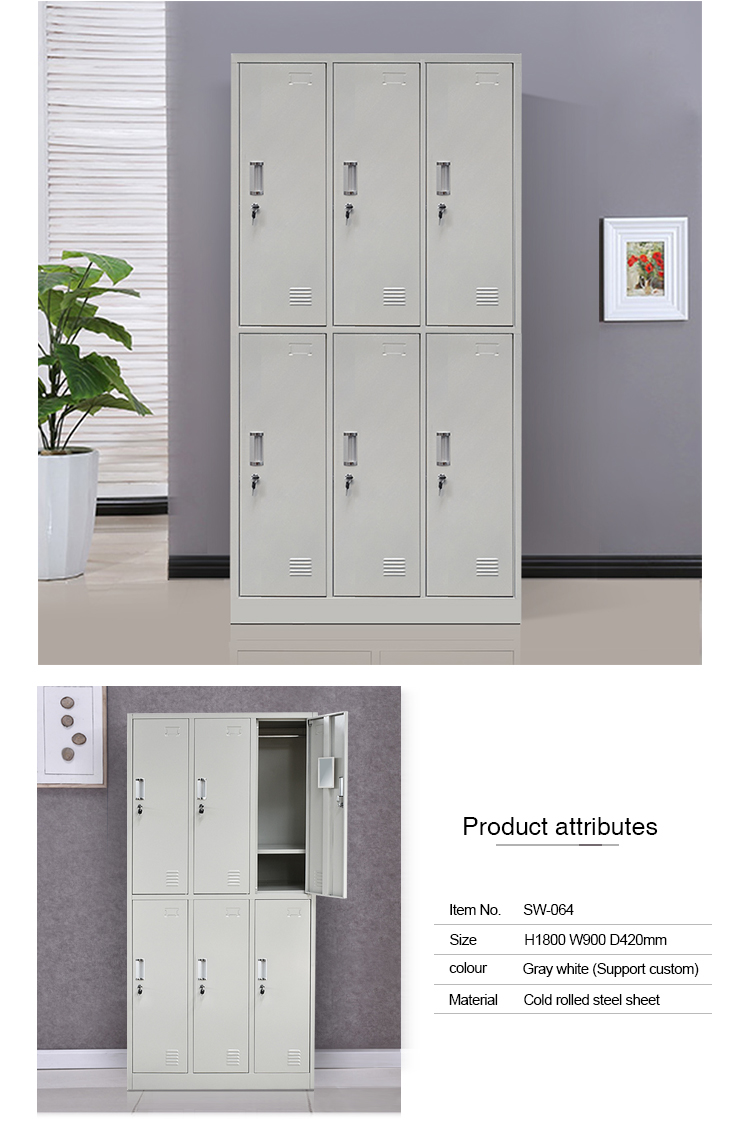 High quality  6 doors modern design hanging clothes cabinet steel cabinet clothes locker modern steel almirah