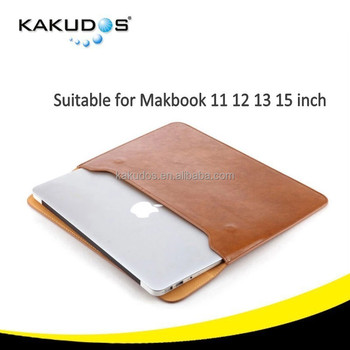 Top Quality Pure Brown Color leather Case for Macbook