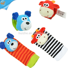 Winter thick terry baby rattle socks with matching wrist rattle