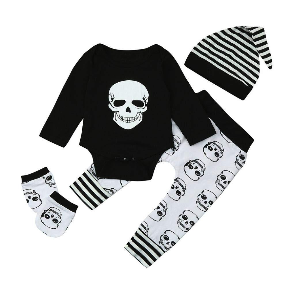 Deer Head Print Pants+Hat Outfits Vinjeely 3pcs Baby Boys Girls 0-24M Letter Print Romper