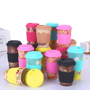 Wholesale 450ml Custom Printed Pattern Logo Reusable Bamboo Fiber Coffee Cup with Silicone Holder