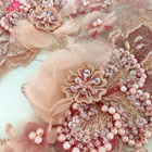 Peach 3d flowers beaded french lace with applique embroidered 3d lace fabrics