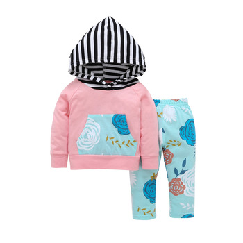 Floral Baby Girls Clothes Long Sleeve T-shirt Coat Hooded Tops + Pants Casual Outfits 2PCS Hooded Clothing Set