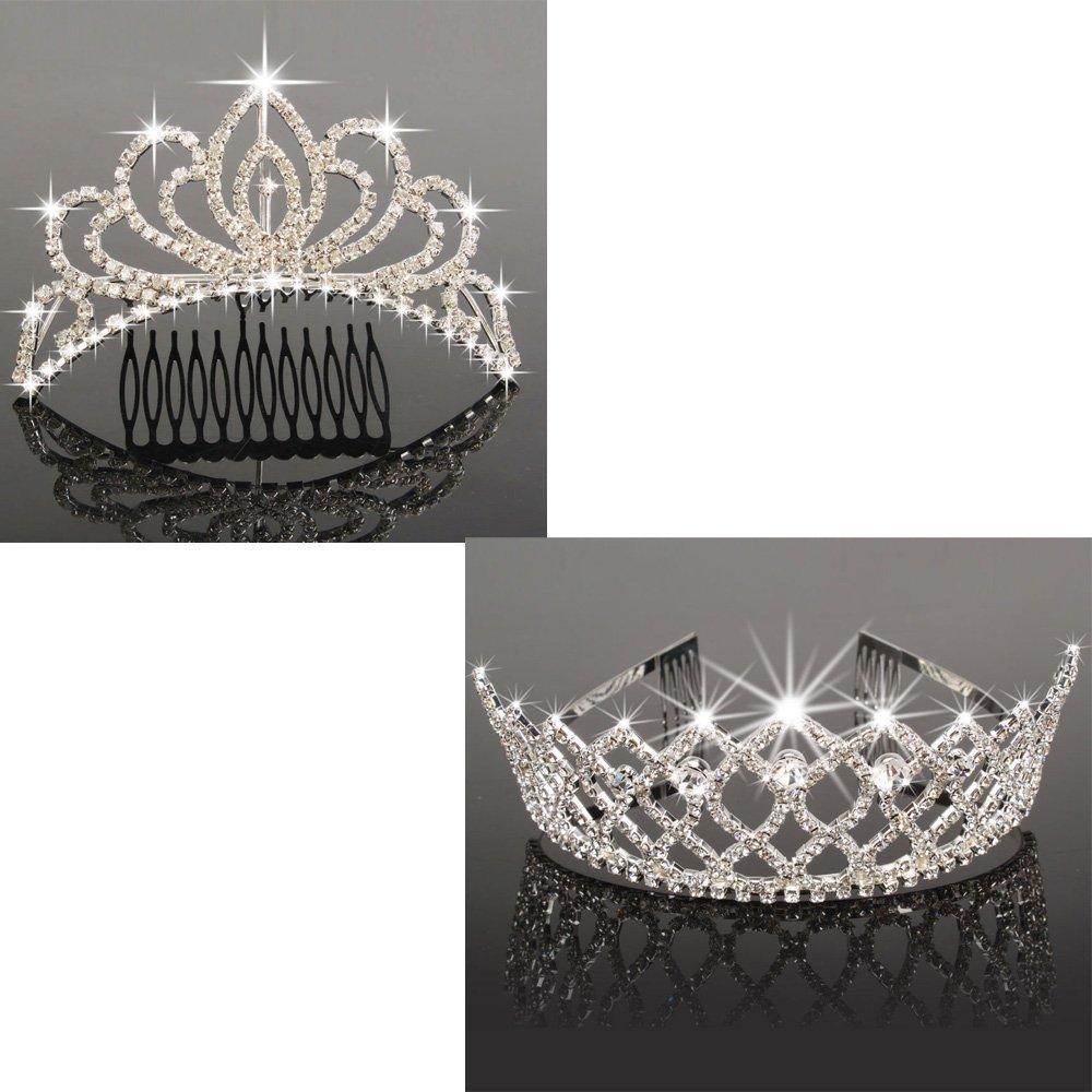 Olymstore Mini Charming Rhinestone Tiara Crown Headband Comb Pin + Rhinestone Tiara Crystal Wedding Bridal Princess Crown Hair Comb