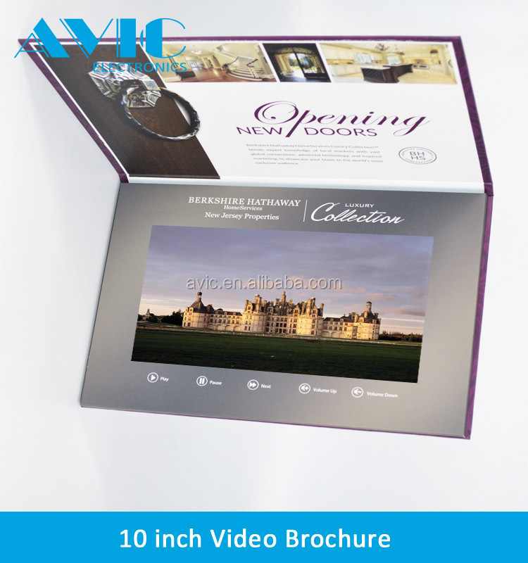 A4 paper size hard cover TFT 10.1 inch LCD video brocure card