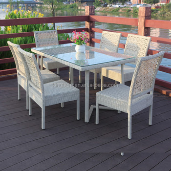 Tavolo E Sedie Rattan Bianco.Mobili Da Giardino In Alluminio Tavoli E 6 Sedie A Buon Mercato In