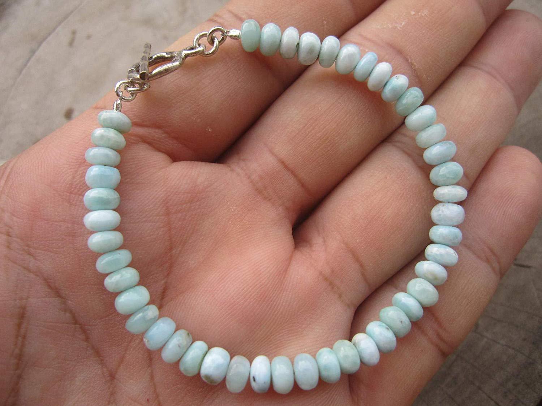 Genuine Dominican Larimar Bead Bracelet,Karen hill tribe silver Clasp,Custom size - 6,6.5,7,7.5,8,8.5