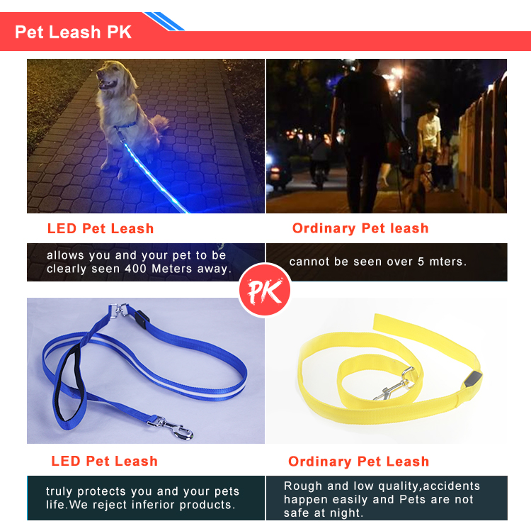 Durable wholesale custom led retractable dog leash