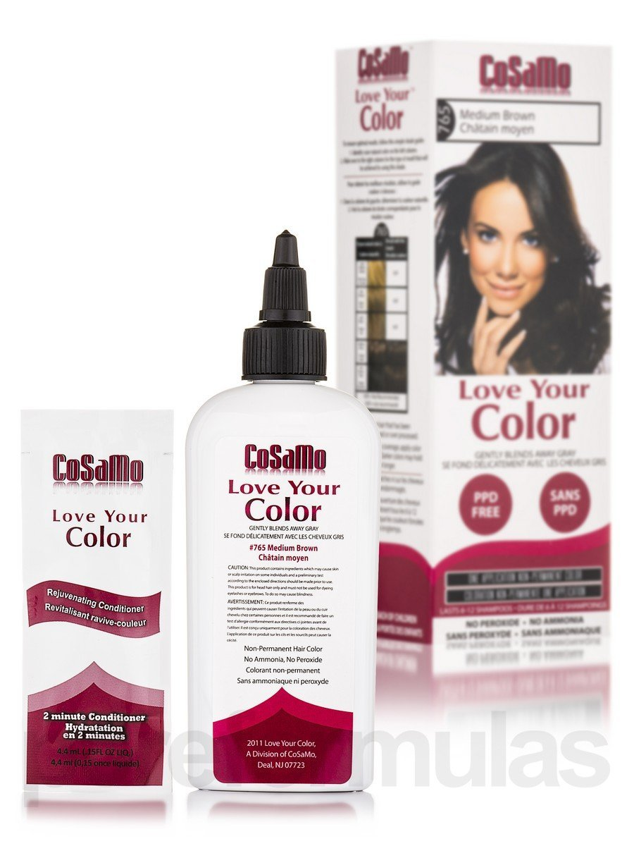 CoSaMo - Love Your Color Non Permanent Hair Color 765 Medium Brown - 3 oz NEW PACKAGING Like Clairol , L'Oreal , Garnier , John Frieda , Nice n Easy , Revlon haircolor ... No PPD or No Ammonia ! Paraben FREE ! PPD FREE ! No Peroxide ! Peroxide Free ! #1 RATED BEST HAIR COLOR ! Most Popular