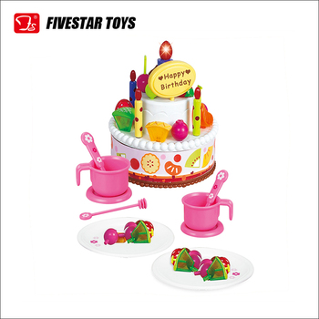 BO Musical Pretend Toy Birthday Cake Play Food Set For Kids Cutting Knife Candles Toppers