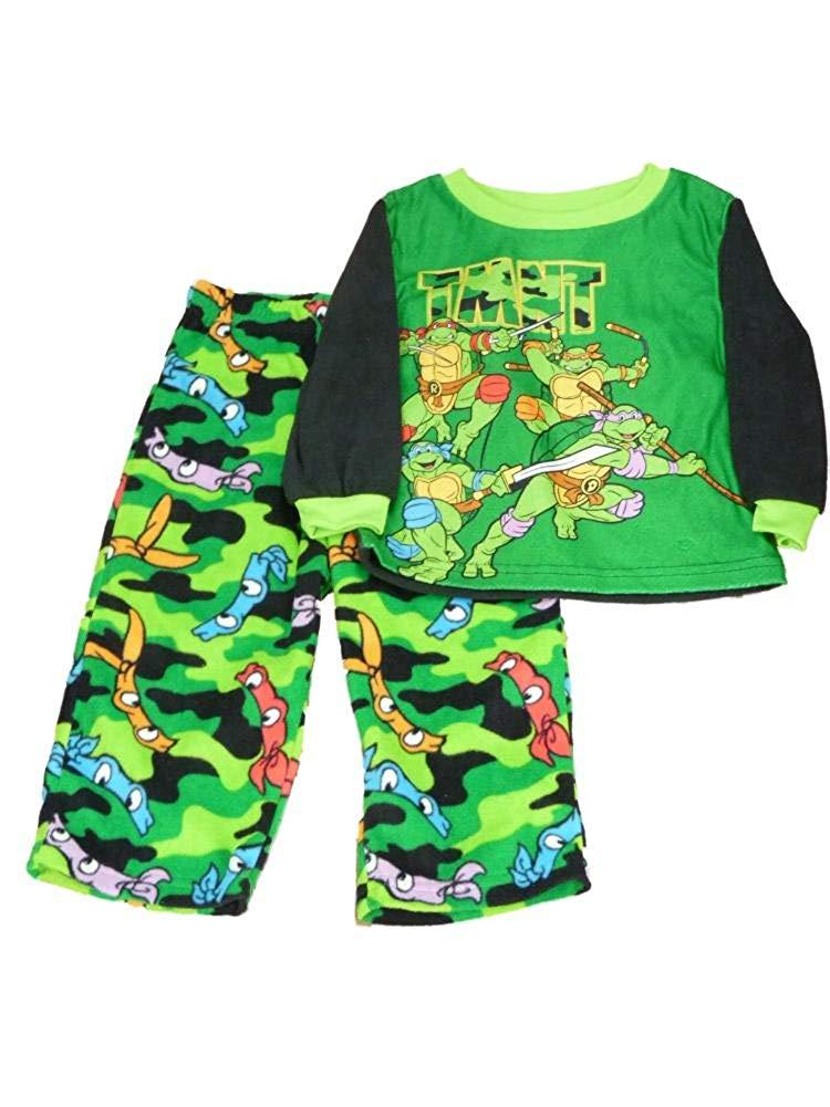 ae3c56ab94 Get Quotations · TMNT Ninja Turtles Toddler Boys Green Fleece Sleepwear Set  Plush Pajamas 2T