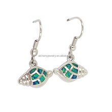 High quality mens jewelry conch drop earrings 925 silver opal earrings