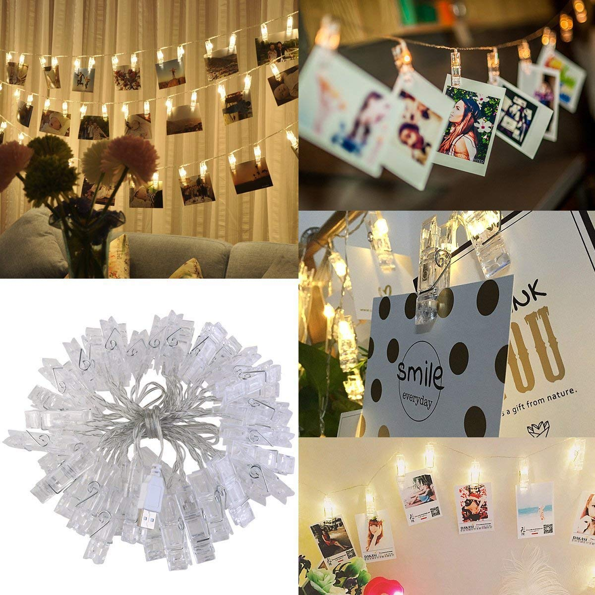 5M LED Photo Clip String Lights(Warm White) - 40 Photo Clip String Lights Indoor / Outdoor, Christmas Lights,for Hanging Photos Paintings Pictures Card and Memos