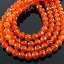 Carnelian Faceted Round Beads Strand, Natural Precious & Semi Precious Wholesale Stone Beads Strand, Jaipur Color Gemstone Beads