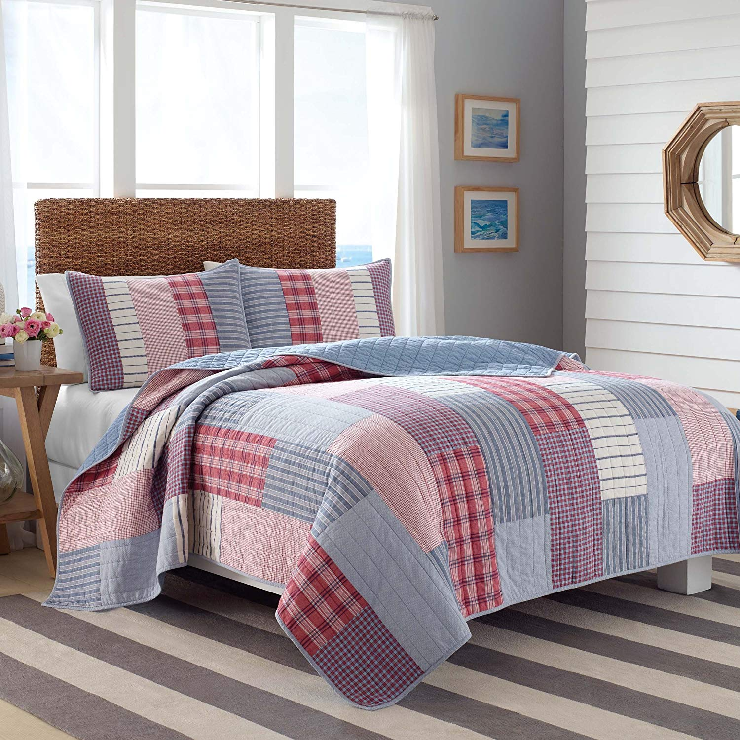 3 Piece Boys Blue Red Plaid Stripe Theme Quilt King Set, Elegance Striped Check Plaided Bedding, Colorful Horizontal Vertical Stripe Lodge Cabin Themed Pattern, Hippy Indie Style, Bright Colors