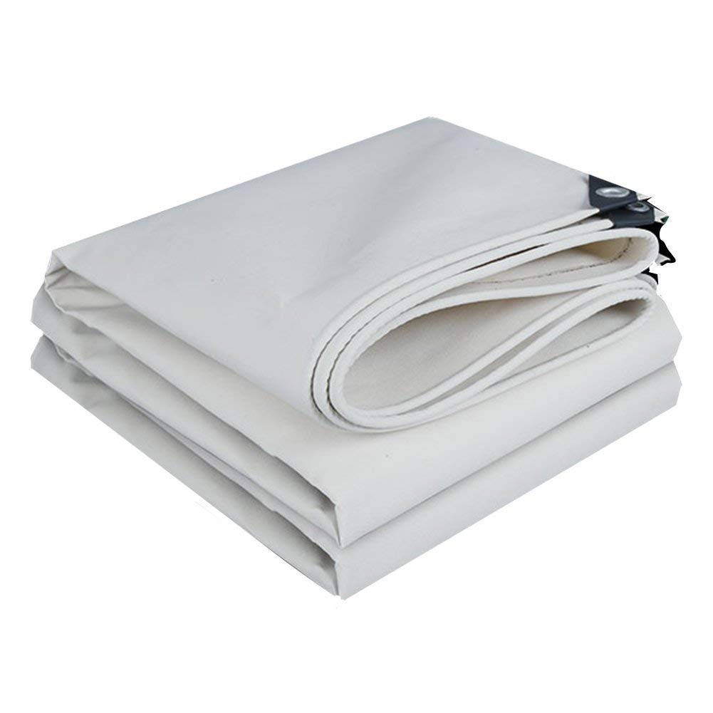 CHAOXIANG Tarpaulin Waterproof Heavy Duty Thicken Keep Warm Wear Resistant Anti-aging Canopy Cloth Rainproof Cloth Canvas, 500G/m2, 17 Sizes (Color : White, Size : 2x3m)