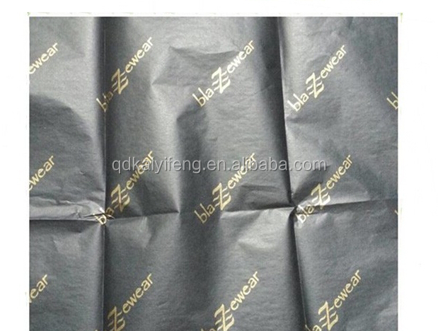 Qingdao Custom Logo Black Tissue Paper with Golden Logo Gift Wrapping Tissue Paper