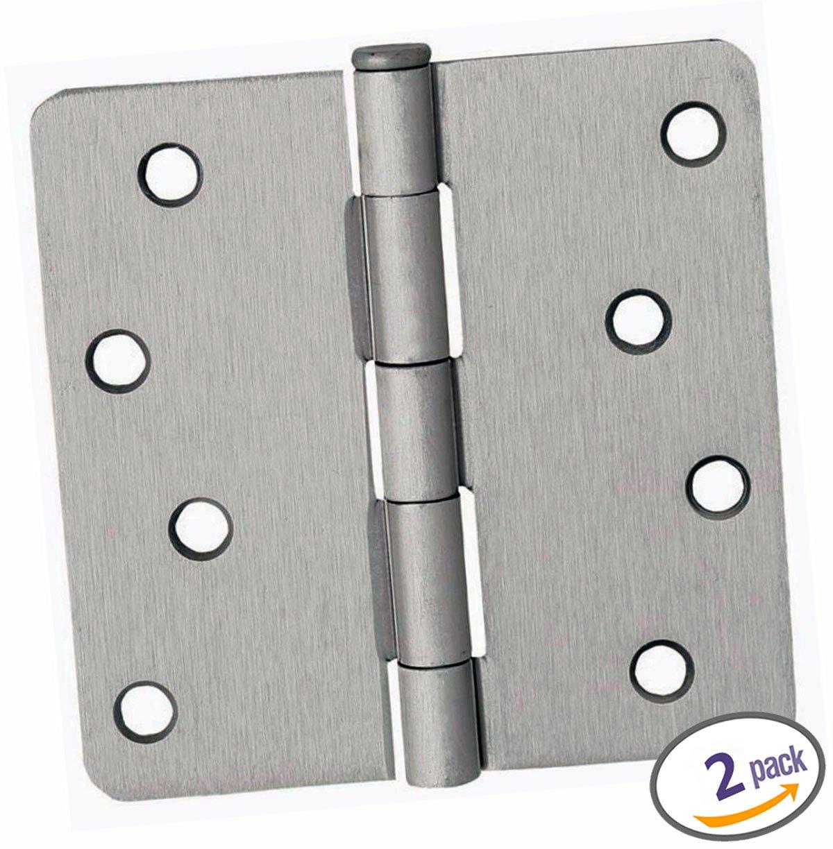 12 Satin Nickel Pack Dynasty Hardware 3-1//2 Door Hinges 1//4 Radius Corner