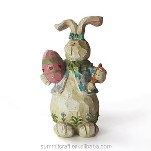 Resin rabbit with easter egg in hand figurines craft easter bunny