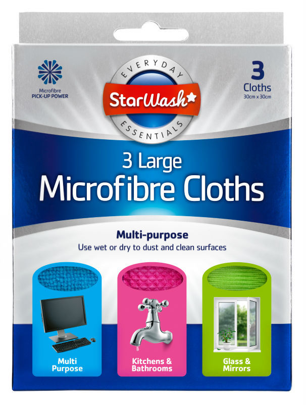 3pk Large Microfibre Cloths