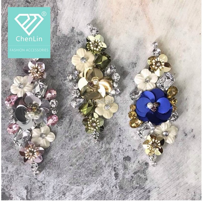 New fashion small sequin beaded flowers handmade sew on patches for wedding dress