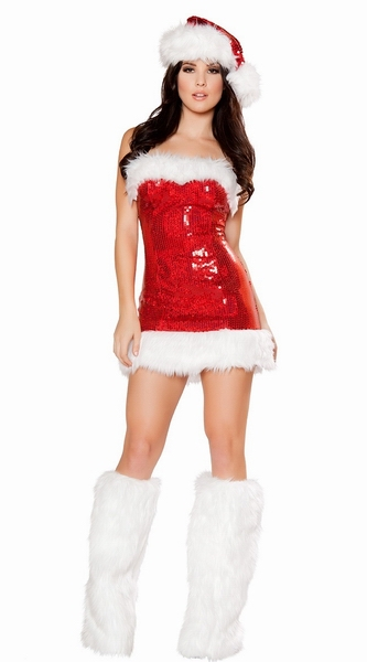3fffb127a1c Red Warm Festival Christmas Costumes For Women Sexy Santa Claus Cosplay  Sleeveless Dess Nightclub Christmas Sexy Dress--CC004