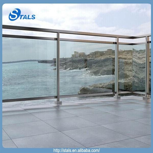 Vidrio con tubo cuadrado de acero inoxidable barandilla for Barandillas de cristal para terrazas