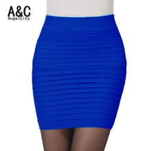New Fashion 2015 Office Lady Skirt Summer Women High Waist Candy Color Elastic Pleated OL Mini Short Skirts Free Shipping 49851