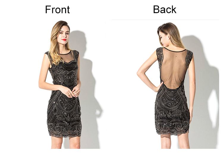 2020 Women Sexy mesh back flapper silver black sequin beaded high quality party club evening dresses bodycon nightwear