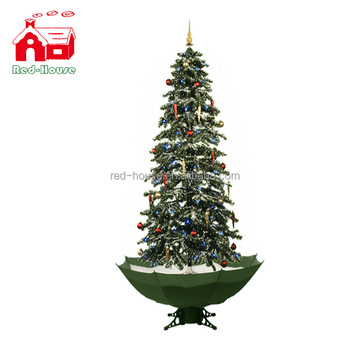 Snowing Christmas Tree.Snowing Christmas Tree With Umbrella Shaped Base View Christmas Tree With Snow Effect Red House Product Details From Nanjing Red House Gifts Co