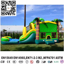 inflatable coconut tree bouncer house with water slide combo