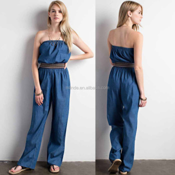 100 Cotton Solid Denim Woven Jumpsuit Elastic Waist Off Shoulder