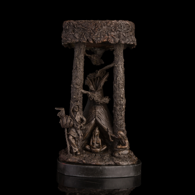 Classical Bronze Statues Primitive African Tribal Life