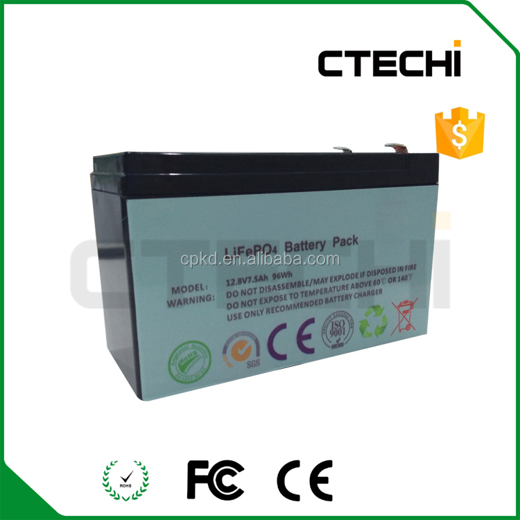 lifepo4 12.8v 7.5Ah with 18650 li ion cells for sealed lead acid battery