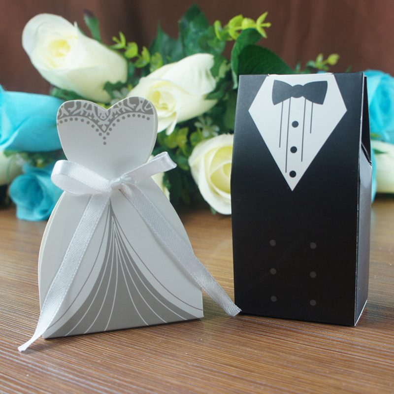 Bride To Groom Wedding Gifts: (50 Pieces/lot)Bride And Groom Wedding Candy Box Paper