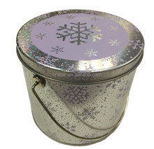 Laser printing big round popcorn tin bucket,christmas metal bucket