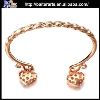 Wholesale Explandable Thin Gold Bangles Heart Charm Bangle Twist ...