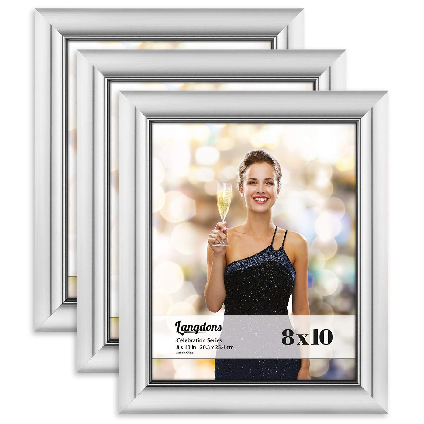 Langdons 8x10 Picture Frame Set (3 Pack, Silver Picture Frames) Photo Frame 8x10, Wall Hang or Table Top Display, 8 x 10 Frame - Silver Frames, Celebration Series