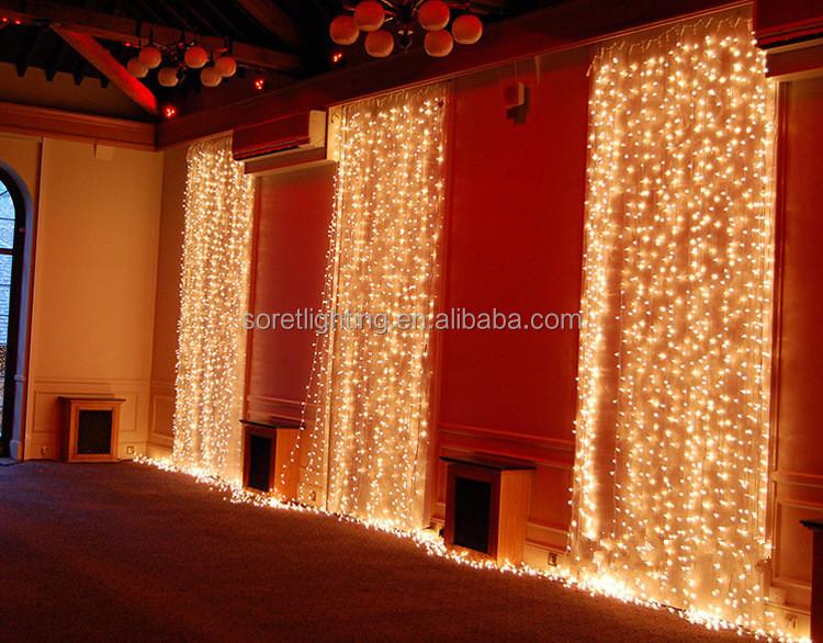 Ca da del banquete de boda de navidad luces led car mbano for Cortinas con luces