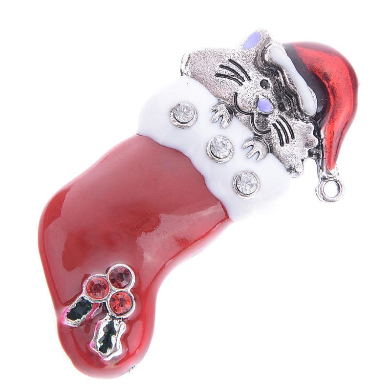 Get Quotations · Lots 12Pcs Fashion Cat Rhinestone Enamel Gift Sock  Stocking Shoes Brooches Pin For Xmas Christmas Gift