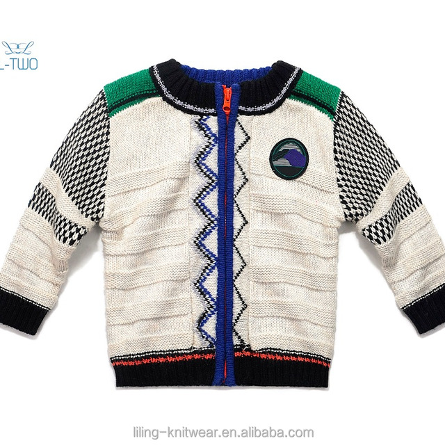 baby sweater/boy's round neck zipper jacquard cardigan sweater