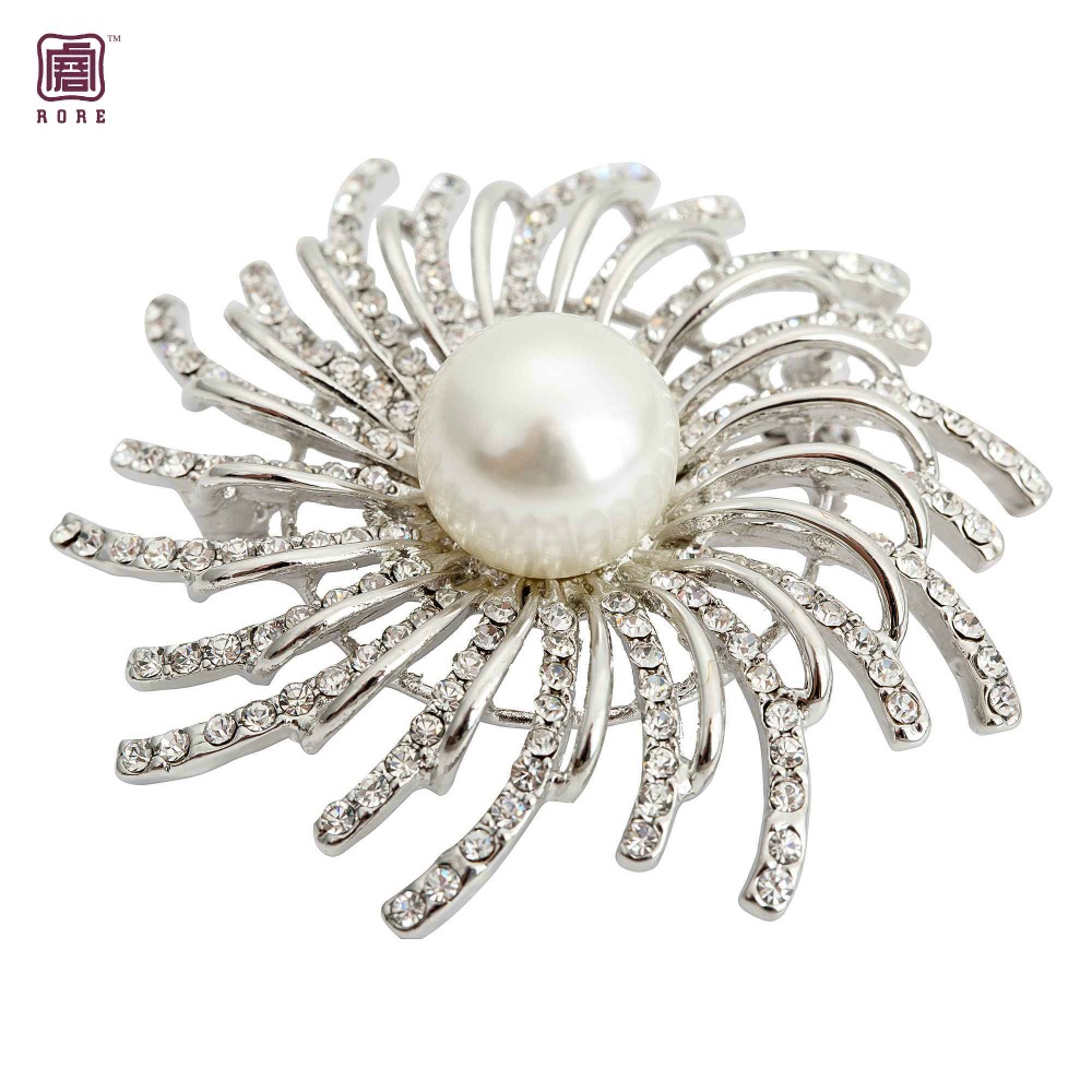 Spider design crystal and pearl brooch pin for wemen party gift accessories