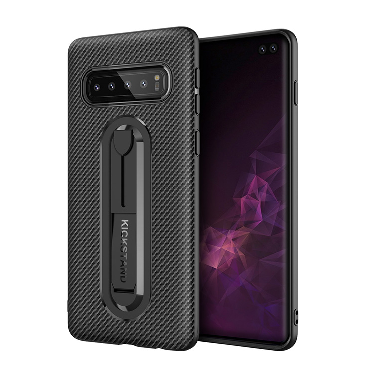 Newest Design Carbon Fiber Mobile Phone Back Cover With Hidden Kickstand For Samsung Galaxy S10 Case