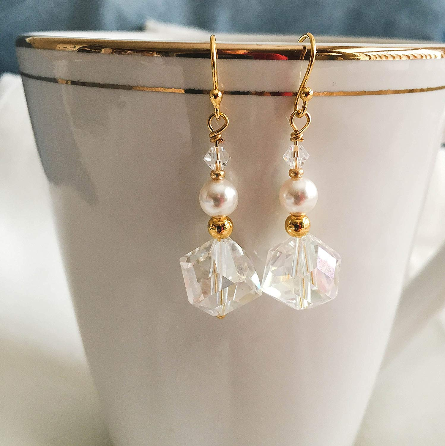 bfef0f196 Get Quotations · Pearl and Crystal Bridesmaid Earrings; Special Occasion Dangle  Earrings; Jewelry for Wedding or Prom