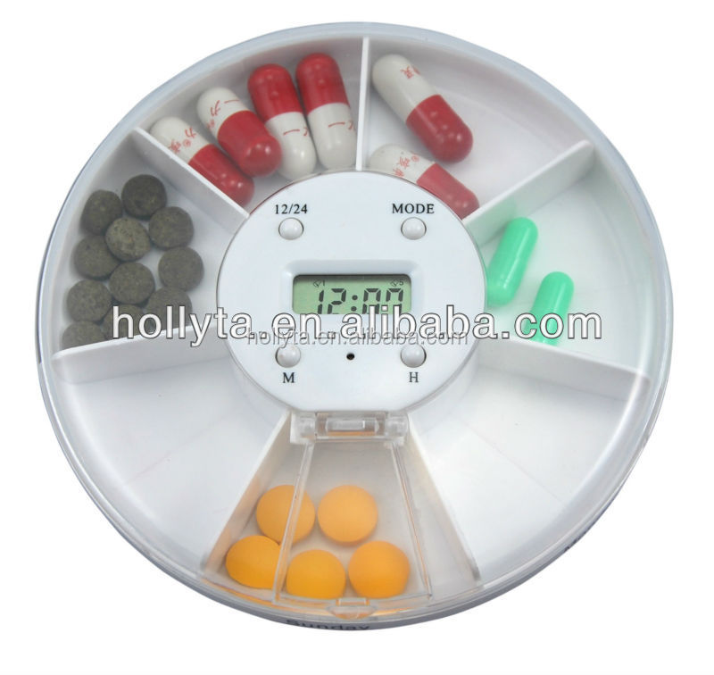 14 Compartment Twice a Day (Morning & Evening) Automatic Pill Dispenser with Electronic Alarm Clock Reminders