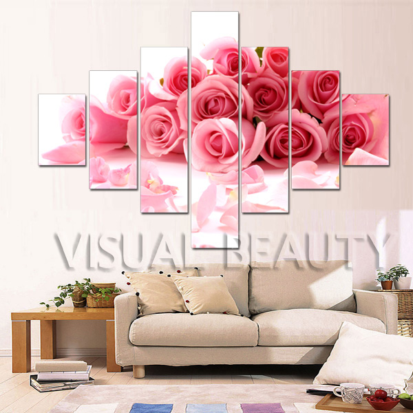 Exlarge 7 Stück Rosa Rose Leinwand Malerei Wandkunst Blume Poster Kunst Für  Wohnzimmer