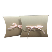 Luxury brown kraft paper pillow gift box packaging